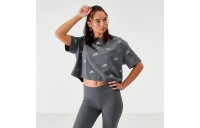 Women's Nike Sportswear Shine Print Crop T-Shirt Charcoal Heather Sales