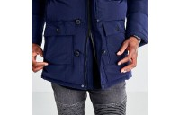 Men's SikSilk Long Parka Jacket Navy Sales