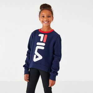 Girls' Fila Miss Mona Crop Crewneck Sweatshirt Navy Sales
