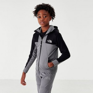 Boys' The North Face Mittelegi Full-Zip Hoodie Grey/Black Sales