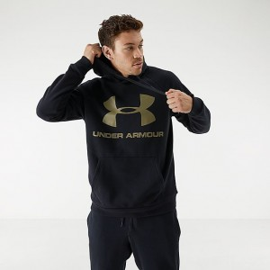 Men's Under Armour Rival Fleece 2.0 Team Hoodie Black/Green Sales