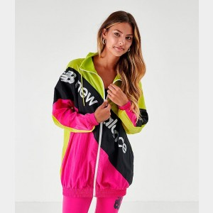 Women's New Balance Optiks Windbreaker Jacket Neon Green/Pink Sales