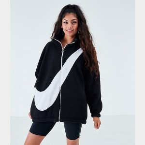 Women's Nike Sportswear Swoosh Sherpa Reversible Jacket Black/White Sales