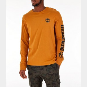Men's Timberland Logo Long-Sleeve T-Shirt Wheat Sales