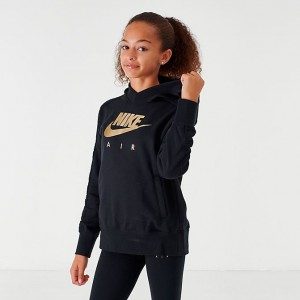 Girls' Nike Air Metallic Pullover Hoodie Black/Metallic Sales