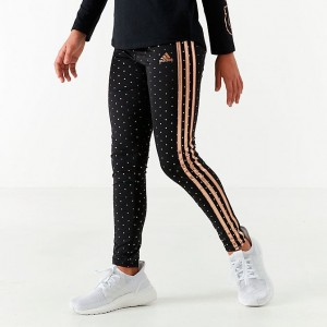 Girls' adidas Originals Dot Print Leggings Black/Gold Sales