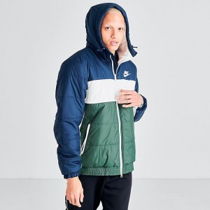 Men's Nike Sportswear Hooded Jacket Obsidian/Jade Sales