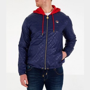 Men's Fila Copper Full-Zip Wind Jacket Navy Sales