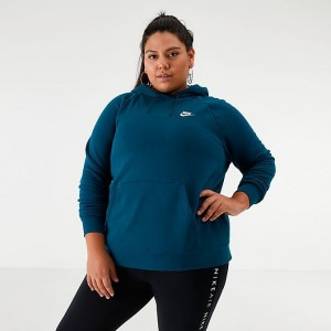 Women's Nike Sportswear Essential Hoodie (Plus Size) Midnight Turquoise Sales