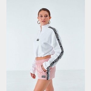 Women's adidas Originals Tape Quarter-Zip Track Jacket White/Black Sales