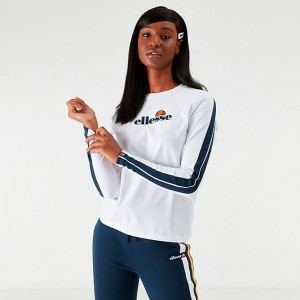 Women's Ellesse Orsola Long-Sleeve T-Shirt White/Navy Sales