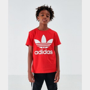 Boys' adidas Trefoil T-Shirt Red/White Sales