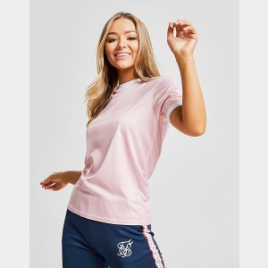 Women's SikSilk Shadow Stripe T-Shirt Pink Sales