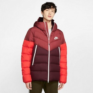 Men's Nike Sportswear Windrunner Down Fill Jacket Cedar/Night Maroon/Habanero Red/Sail Sales