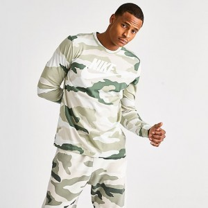 Men's Nike Sportswear Camo Long-Sleeve T-Shirt Jade Horizon/Light Bone Sales