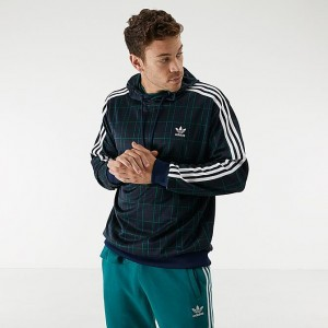 Men's adidas Originals Tartan Hoodie Multi Collegiate Navy Sales