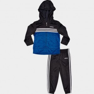 Boys' Infant adidas Melange Full-Zip Hoodie and Jogger Pants Set Black/Blue Sales