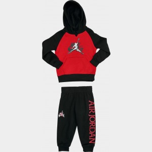 Boys' Toddler Jordan Mashup Classics Hoodie and Jogger Pants Set Black/Red Sales