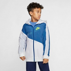 Boys' Nike Sportswear Amplify Jacket Mountain Blue/White/White/Volt Sales