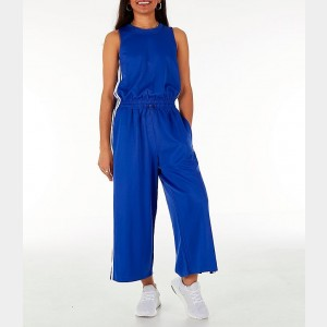 Women's adidas Athletics Cropped Leg Snap Jumpsuit Action Blue Sales