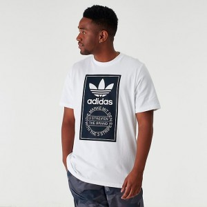 Men's adidas Originals Tartan Tongue Label T-Shirt White Sales