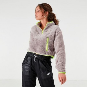 Women's Nike Sportswear Quarter-Zip Fleece Crop Top Pumice/Volt Sales