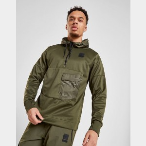 Men's Nike Air Max Poly Half-Zip Hoodie Olive Green/Black Sales