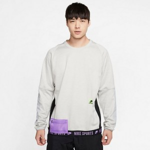 Black Friday 2021 Men's Nike Therma Long-Sleeve Top Grey Heather/Light Smoke Grey/Bright Violet/Electric Green Sales