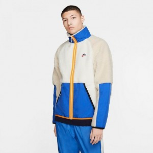 Men's Nike Sportswear Sherpa Winter Jacket Sail/Game Royal/Desert Sand Sales