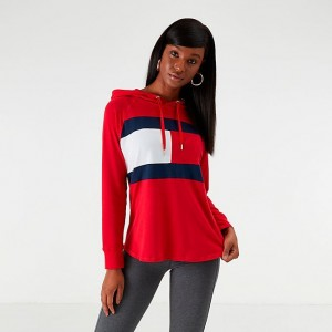 Black Friday 2021 Women's Tommy Hilfiger Flag Hooded Long-Sleeve T-Shirt Red/Navy/White Sales