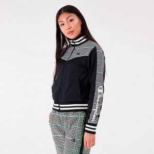 Women's Champion Life Houndstooth Tricot Track Jacket Green/Black/White Sales