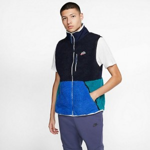 Men's Nike Sportswear Sherpa Fleece Vest Obsidian/Game Royal/Geode Teal Sales