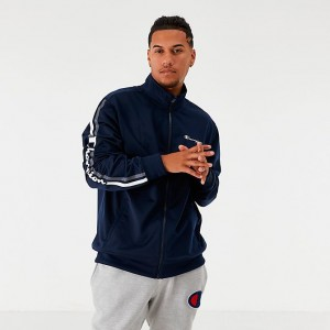 Men's Champion Side Tape Track Jacket Navy Sales