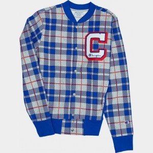Men's Champion Reverse Weave Plaid Baseball Jacket Blue Plaid Sales