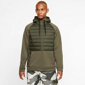 Men's Nike Winterized Therma Full-Zip Hoodie Cargo Khaki/Sequoia/Black Sales