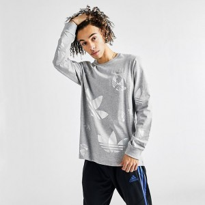 Men's adidas Originals Space Tech Long-Sleeve T-Shirt Grey/Metallic Sales