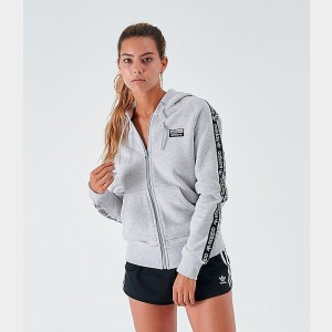 Women's adidas Originals Tape Full-Zip Hoodie White/Black Sales