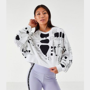 Women's Nike Air Crop Crew Sweatshirt White/Black Sales