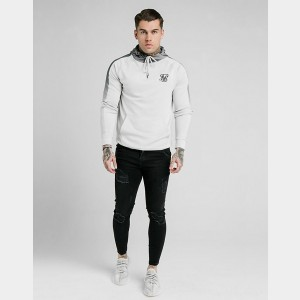 Men's SikSilk Fade Panel Hoodie White Sales