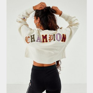 Women's Champion Reverse Weave Old English Crop Crew Sweatshirt Chalk White Sales