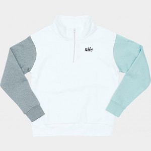 Women's Nike Sportswear Fleece Quarter-Zip Sweatshirt (Plus Size) White/Ocean Blue Sales
