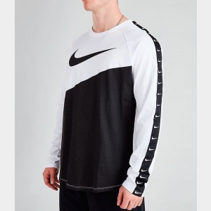 Men's Nike Sportswear Swoosh Long-Sleeve T-Shirt White/Black/Black Sales