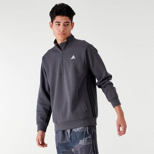 Men's adidas Badge of Sport Striped Half-Zip Hoodie Dark Grey Sales