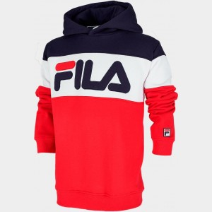 Boys' Fila Colorblocked Hoodie Red/Navy/White Sales