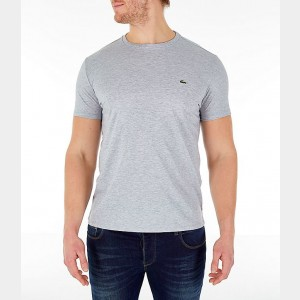 Men's Lacoste Pima Crew T-Shirt Grey Sales