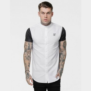 Men's SikSilk Raglan Button-Up T-Shirt White/Black Sales