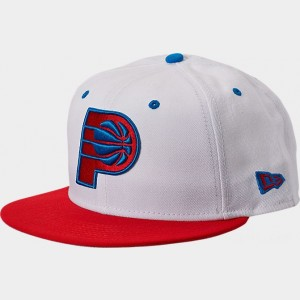 New Era Indiana Pacers NBA Split Color 9FIFTY Snapback Hat White/Red/Blue Sales