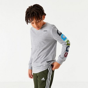 Boys' adidas Originals Arm Hit Long-Sleeve T-Shirt Heather Grey Sales