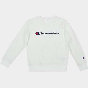 Kids' Champion Script Logo Crew Sweatshirt White Sales