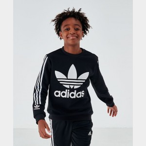 Boys' adidas Originals Lock Up Crewneck Sweatshirt Black/White Sales